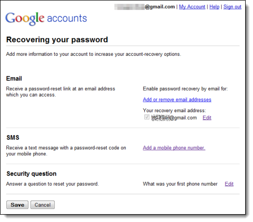 Google's Recovering your password page