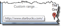 Starbucks tooltip from Google search results