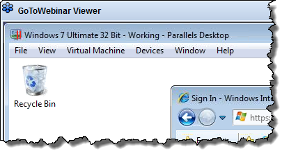 Parallels desktop in Go To Webinar