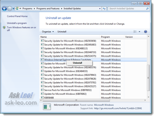 IE9 item in Installed Updated