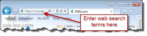 IE9 Search in address bar
