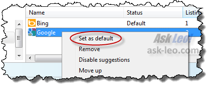 IE9 setting a default search provider