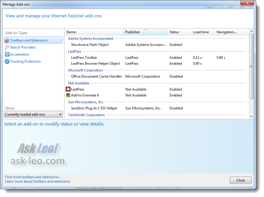 IE Add-on managet
