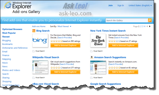 IE search providers web page