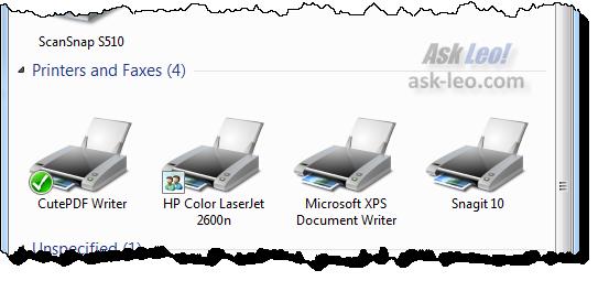 Installed printers