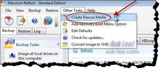 Create rescue media link