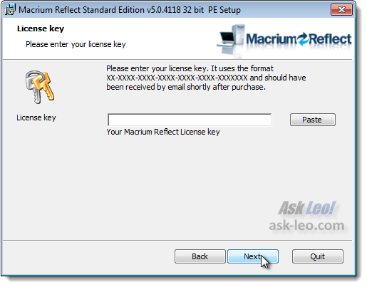 Macrium license key entry