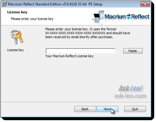 Macrium license key entry