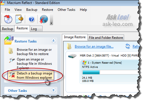 Detach a backup image from Windows explorer
