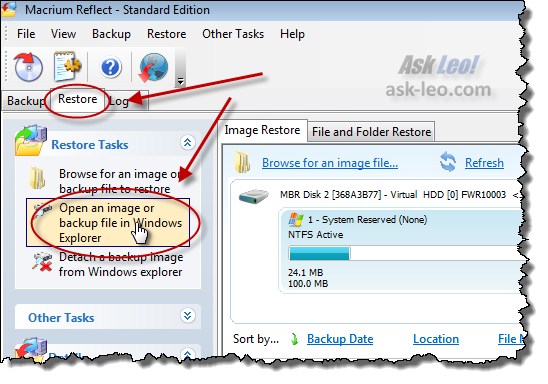 Open an image or backup file in Windows Explorer