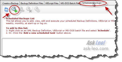 Macrium Reflect Scheduled Backups tab