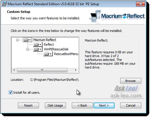 Macrium setup options