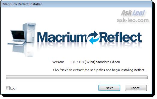 Macrium Setup splash screen