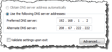 Network DNS settings