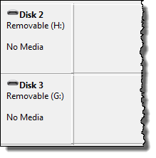 Removable drives showing no media in disk management