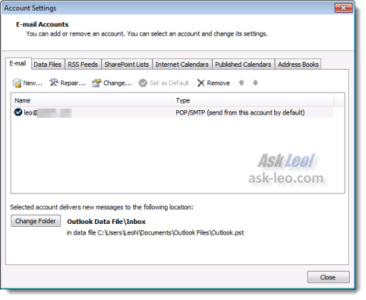 Outlook 2010 Account Settings Dialog