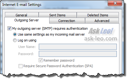 Outlook 2010: Outgoing Server authentication options