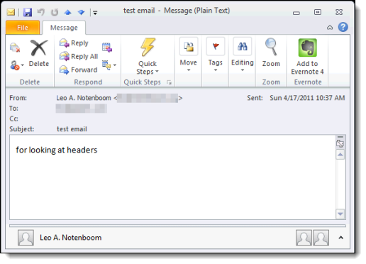 A Message in Outlook 2010