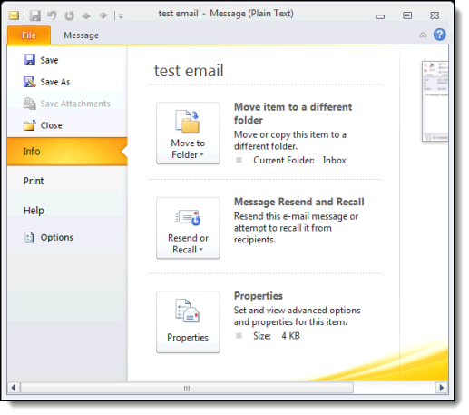 Outlook 2010 File menu on an individual message