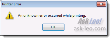 An error while attempting to print to file