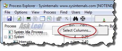 Process Explorer Select Columns... item