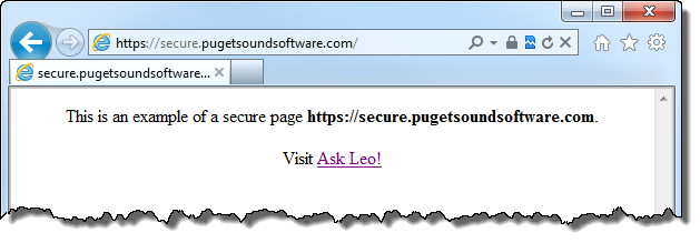 IE 9 open on https://secure.pugetsoundsoftware.com