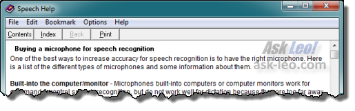 Our example file, renamed back to speech.hlp, and opened in the WinHelp viewer.