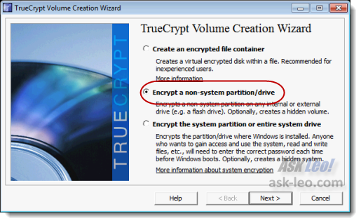 Type of TrueCrypt encrypted volume to create
