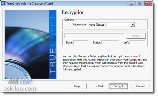TrueCrypt ready to start encrypting