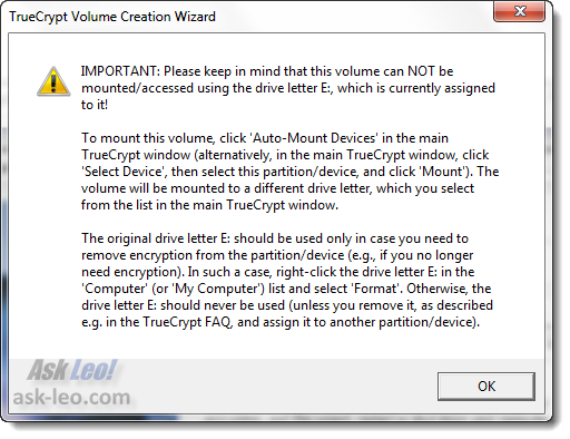 TrueCrypt instructions on completion