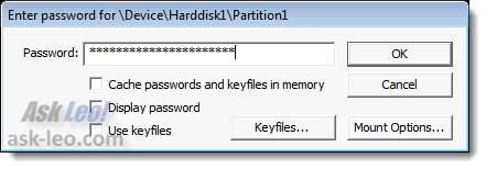 TrueCrypt prompting for password
