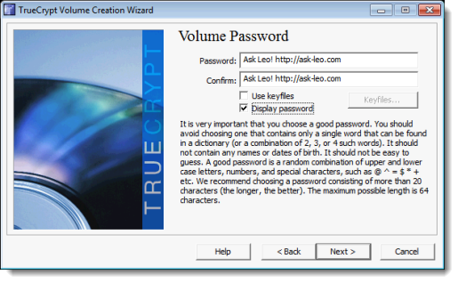 TrueCrypt Password Selection