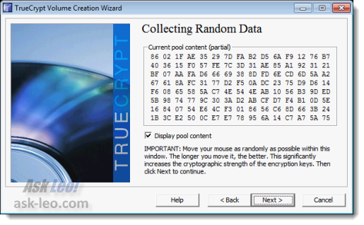 TrueCrypt Random data collection