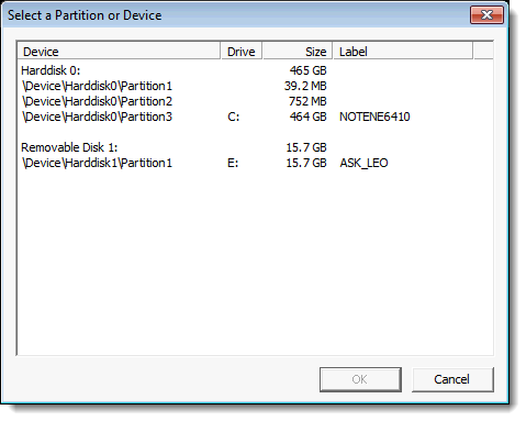 TrueCrypt volume selection dialog