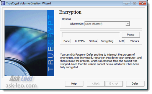 TrueCrypt encrypting