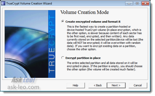 TrueCrypt Volume Creation Mode