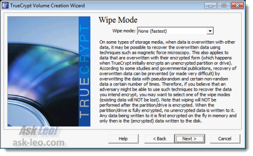 TrueCrypt wipe mode