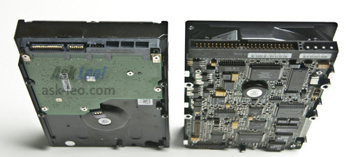 3.5 inch SATA (left) and PATA/IDE (right) drives