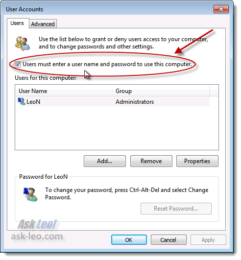 Users must enter a username and password to use this computer option