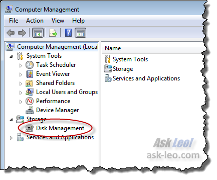 Disk Management link in Computer Management