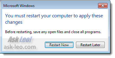 Windows 7 Restart Required