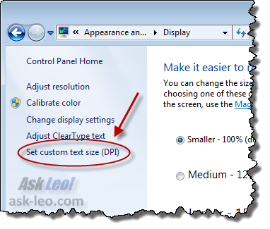 Windows 7, Set custom DPI link
