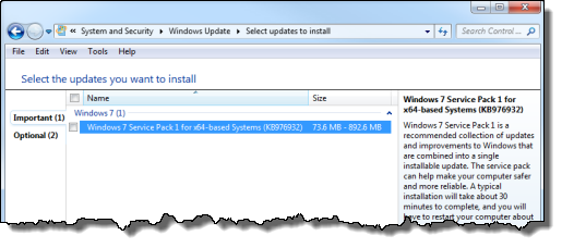 Windows 7 SP1 in Windows Update
