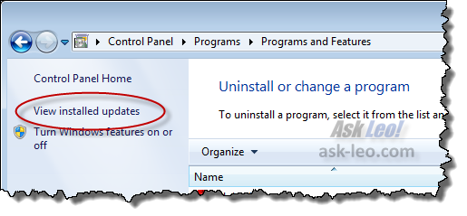 Windows 7 Control Panel View installed updates link