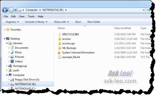 Windows Explorer, opened on my B: drive