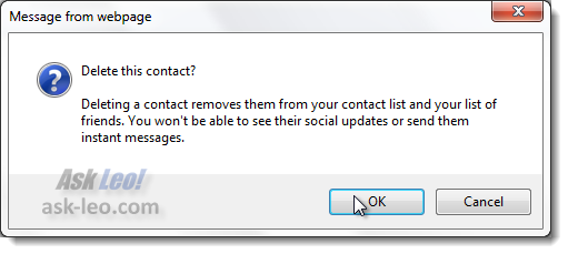 Windows Live Contacts confirmation dialog