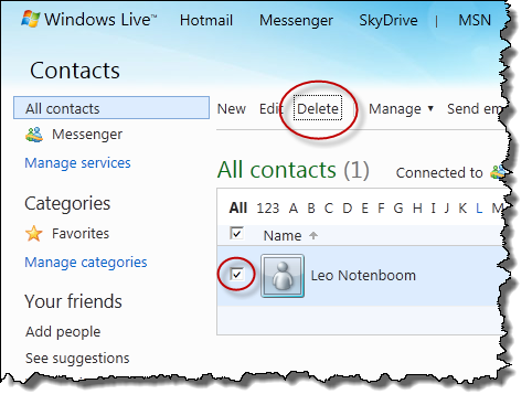 Deleting a Windows Live Contact