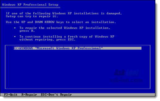 Option to repair an existing installation of Windows XP using Windows XP Setup