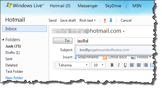 Windows Live Hotmail auto complete