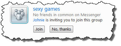 A questionable invitation to join a Windows Live Messenger group